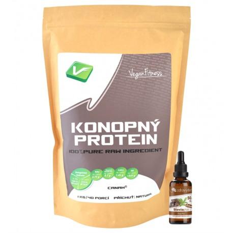 Vegan Fitness Konopný Protein 1kg  + Stevia kapky 50ml čokoláda