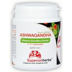 Ashwagandha, Ašvaganda, Withania somnifera Extrakt 5 % withanolidů Superionherbs 90cps.