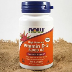 NOW Vitamin D3, 5000 IU, 240 softgel kapslí