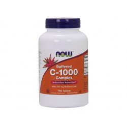 NOW Buffered Vitamin C-1000 Komplex s 250mg bioflavonoidů, PH neutrální Vitamín C, 180 tablet