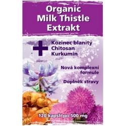 Naturgreen Organic Milk Thistle Extrakt & Kozinec blanitý & Chitosan & Kurkumin - 120 caps.